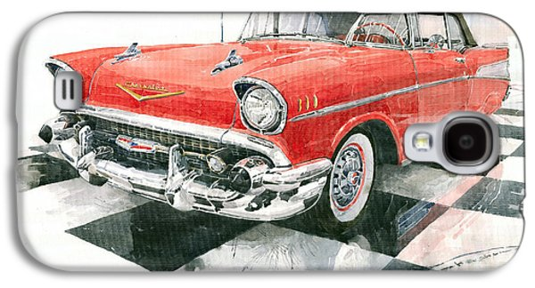Red Chevrolet 1957 Galaxy S4 Case by Yuriy  Shevchuk