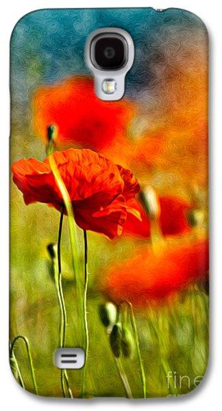 Red Poppy Flowers 01 Galaxy S4 Case