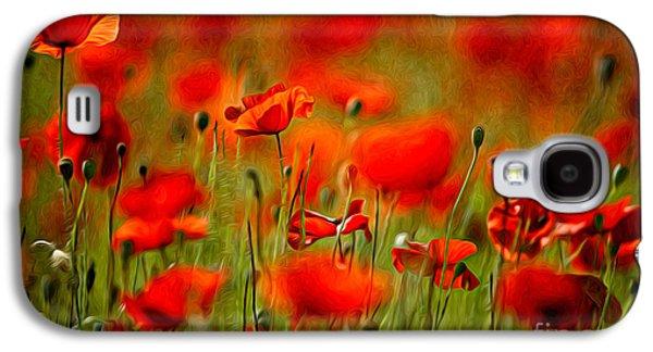 Red Poppy Flowers 02 Galaxy S4 Case