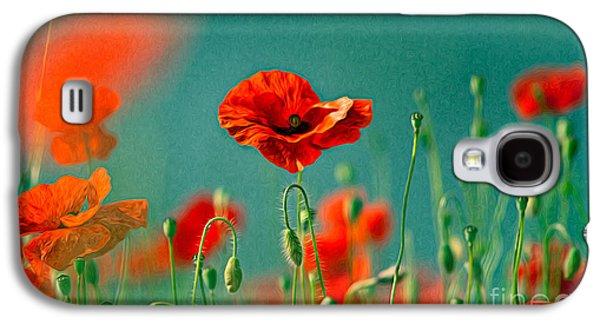 Red Poppy Flowers 06 Galaxy S4 Case by Nailia Schwarz