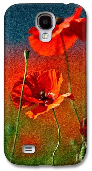 Red Poppy Flowers 08 Galaxy S4 Case by Nailia Schwarz