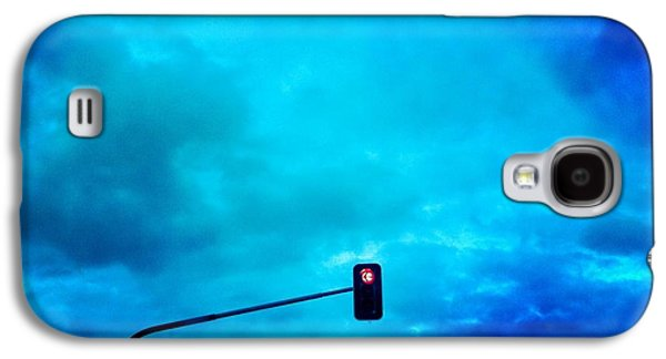 Light Galaxy S4 Case - Red Traffic Light And Cloudy Blue Sky by Matthias Hauser