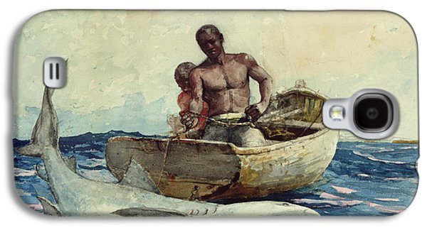 Shark Fishing Galaxy S4 Case by Winslow Homer