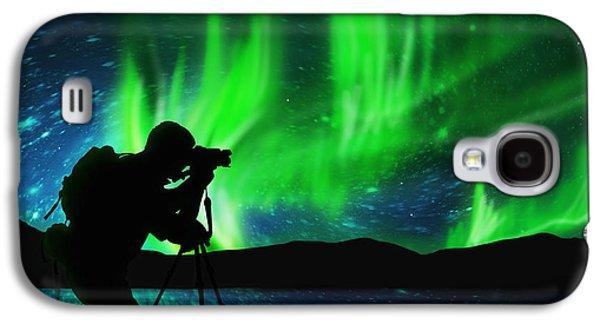 Silhouette Of Photographer Shooting Stars Galaxy S4 Case by Setsiri Silapasuwanchai