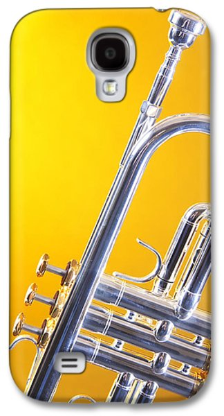 Silver Trumpet Isolated On Yellow Galaxy S4 Case by M K  Miller