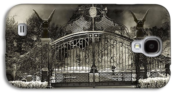 Surreal Gothic Gate And Gargoyles Stormy Haunted Sepia Nightscape Galaxy S4 Case by Kathy Fornal