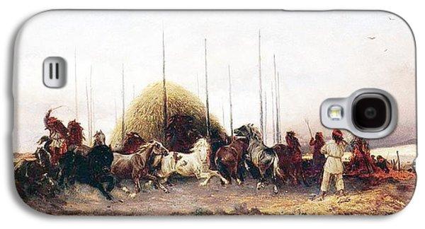 Threshing Wheat In New Mexico Galaxy S4 Case by Thomas Moran