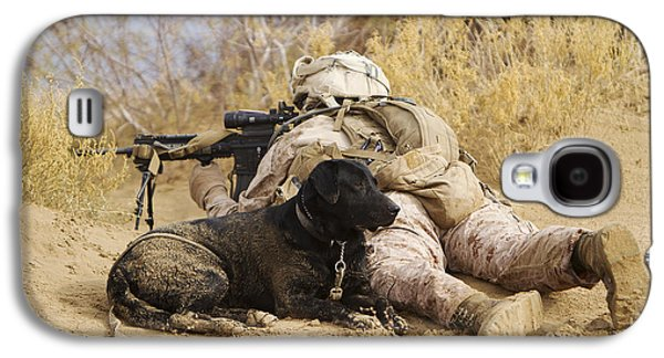 U.s. Marine And A Military Working Dog Galaxy S4 Case by Stocktrek Images