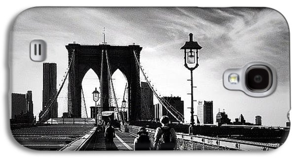 Classic Galaxy S4 Case - Walking Over The Brooklyn Bridge - New York City by Vivienne Gucwa