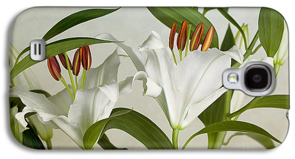 White Lilies Galaxy S4 Case by Nailia Schwarz