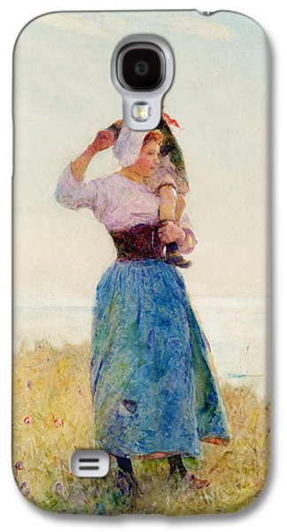 Woman And Child In A Meadow Galaxy S4 Case by Hector Caffieri