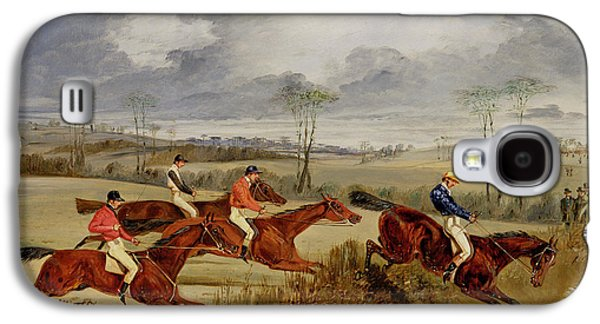 Horseback Galaxy S4 Cases -  A Steeplechase - Near the Finish Galaxy S4 Case by Henry Thomas Alken