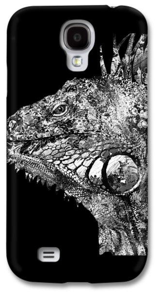 Black And White Iguana Art - One Cool Dude 2 - Sharon Cummings Galaxy S4 Case by Sharon Cummings