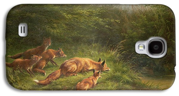 Foxes Waiting For The Prey   Galaxy S4 Case by Carl Friedrich Deiker