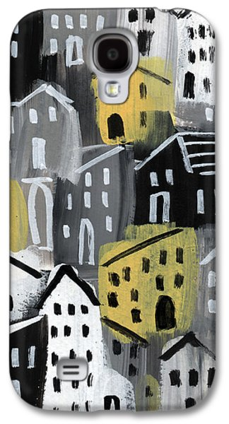 Town Galaxy S4 Case -  Rainy Day - Expressionist Art by Linda Woods