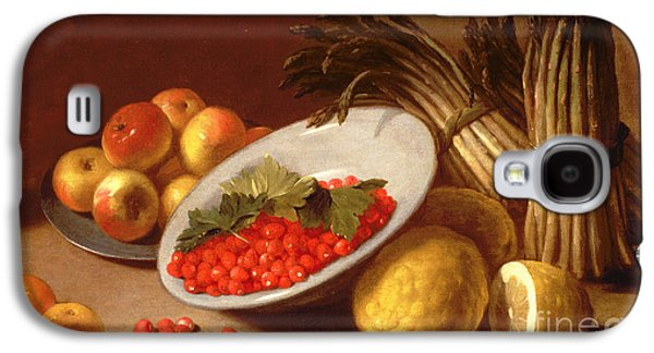 Still Life Of Raspberries Lemons And Asparagus  Galaxy S4 Case by Italian School