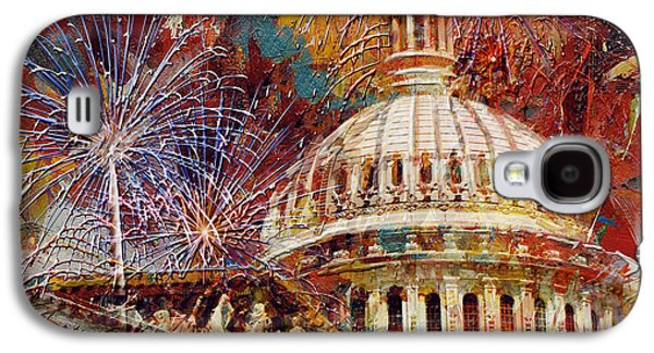 070 United States Capitol Building - Us Independence Day Celebration Fireworks Galaxy S4 Case by Maryam Mughal