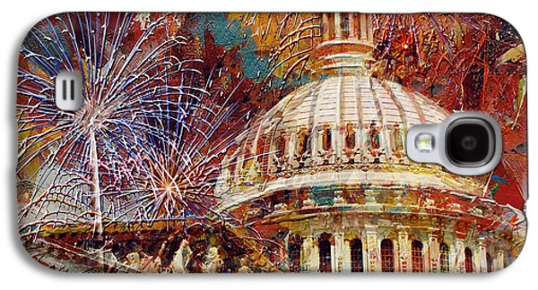 Capitol Building Galaxy S4 Case - 070 United States Capitol Building - Us Independence Day Celebration Fireworks by Maryam Mughal
