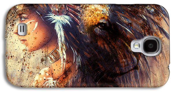 Indian Woman Wearing  Feather Headdress With Lion And Abstract Color Collage. Galaxy S4 Case by Jozef Klopacka