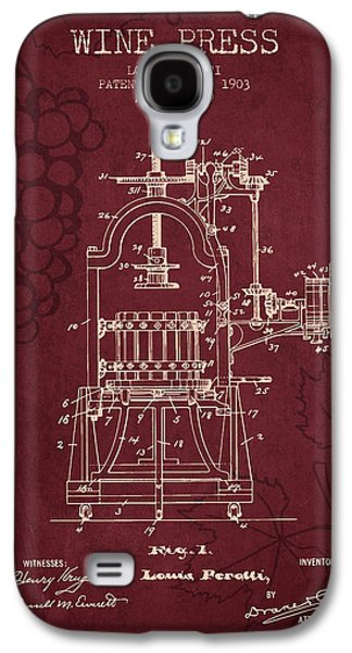 1903 Wine Press Patent - Red Wine Galaxy S4 Case by Aged Pixel