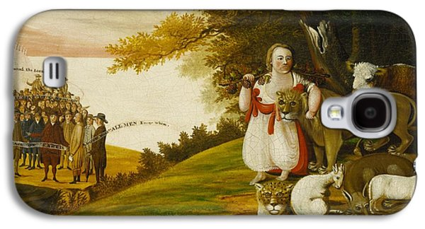A Peaceable Kingdom With Quakers Bearing Banners Galaxy S4 Case by Edward Hicks