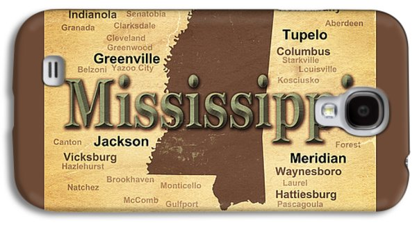 Aged Mississippi State Pride Map Silhouette  Galaxy S4 Case by Keith Webber Jr