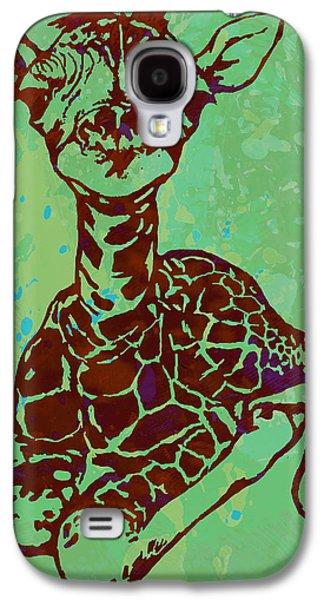 Baby Giraffe - Pop Modern Etching Art Poster Galaxy S4 Case by Kim Wang