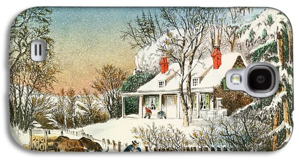 Winter Landscapes Galaxy S4 Cases - Bringing Home the Logs Galaxy S4 Case by Currier and Ives
