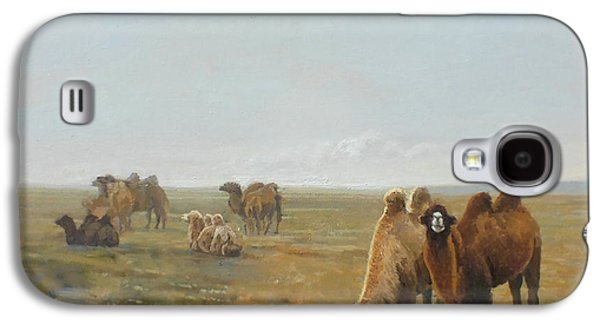 Camels Along The River Galaxy S4 Case by Chen Baoyi