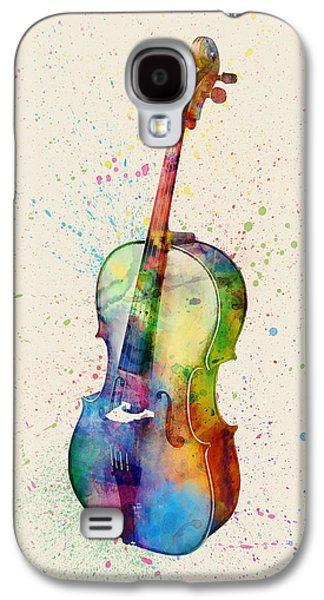 Violin Galaxy S4 Case - Cello Abstract Watercolor by Michael Tompsett