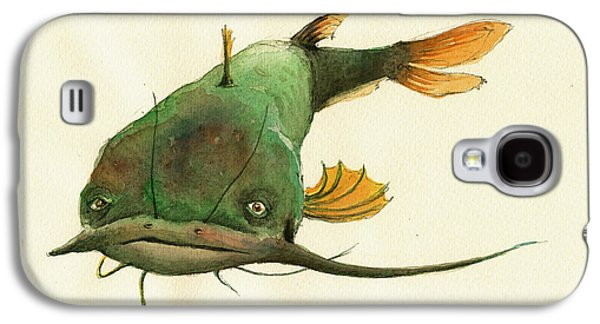 Channel Catfish Fish Animal Watercolor Painting Galaxy S4 Case