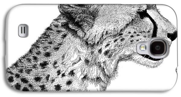 Cheetah Drawings Galaxy S4 Cases - Cheetah Galaxy S4 Case by Scott Woyak