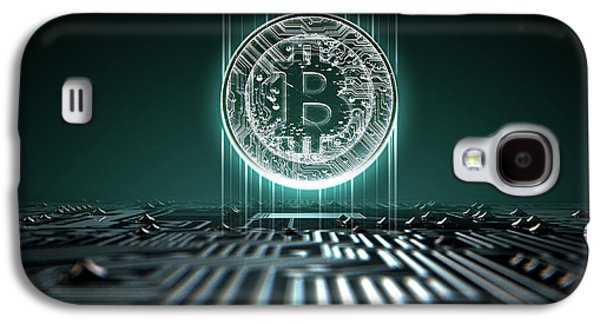 Circuit Board Projecting Bitcoin Galaxy S4 Case by Allan Swart