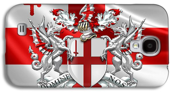 City Of London - Coat Of Arms Over Flag  Galaxy S4 Case by Serge Averbukh