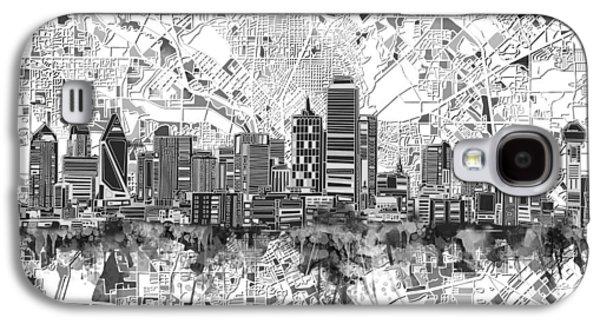 Dallas Skyline Map Black And White 5 Galaxy S4 Case