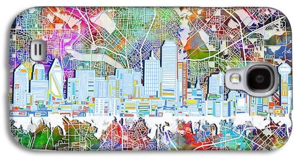 Dallas Skyline Map Color 4 Galaxy S4 Case