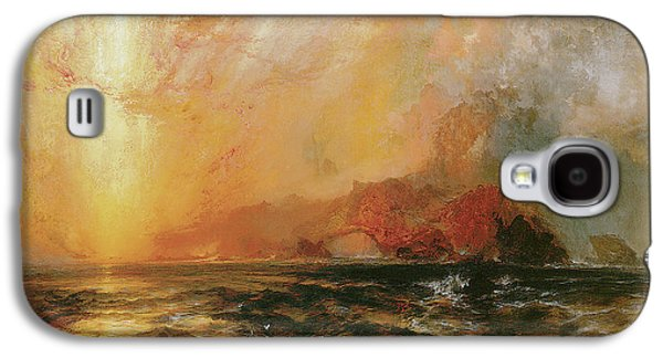 Fiercely The Red Sun Descending Burned His Way Along The Heavens Galaxy S4 Case by Thomas Moran