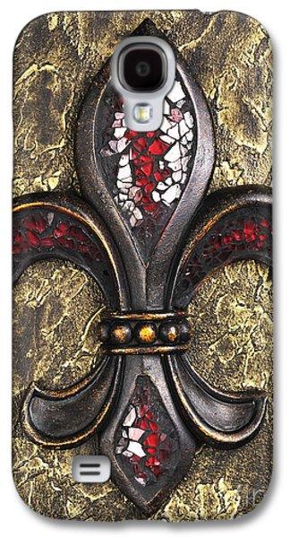 red mosaic Fleur-di-lis Galaxy S4 Case by Tony Cordoza