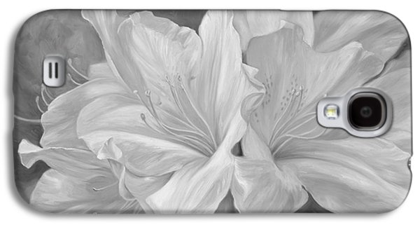 Fleurs Blanches - Black And White Galaxy S4 Case by Lucie Bilodeau
