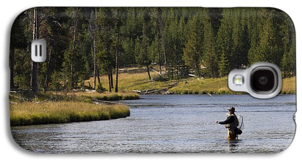 Flyfishing Galaxy S4 Cases - Fly Fishing in the Firehole River Yellowstone Galaxy S4 Case by Dustin K Ryan