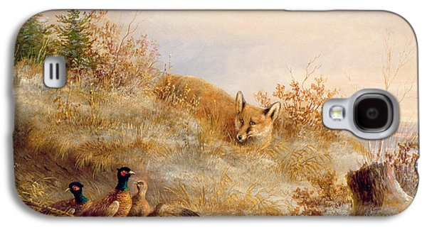 Pheasant Galaxy S4 Case - Fox And Pheasants In Winter by Anonymous