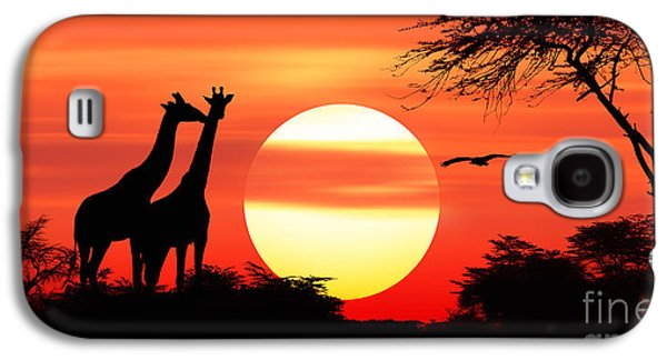 Giraffes At Sunset Galaxy S4 Case