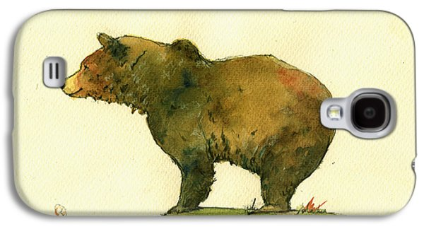 Bear Galaxy S4 Case - Grizzly Bear Watercolor Painting by Juan  Bosco