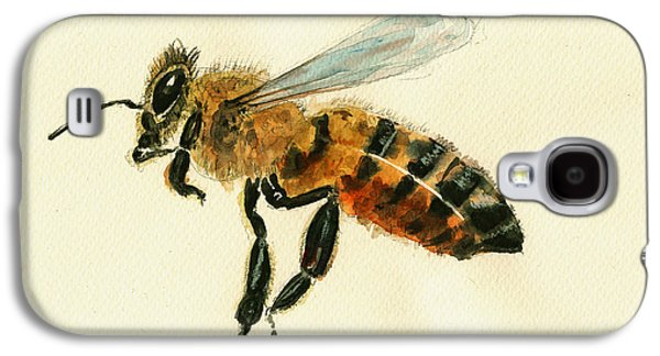 Honey Bee Watercolor Painting Galaxy S4 Case by Juan  Bosco