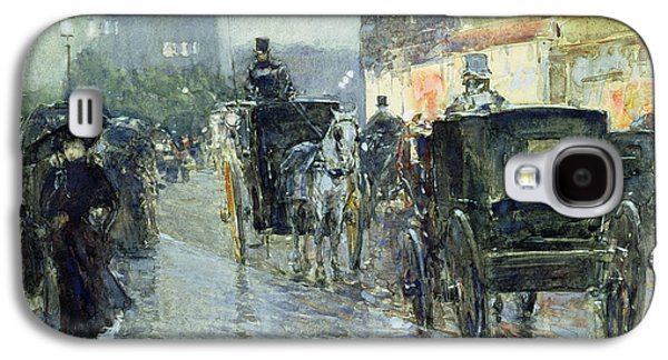Horse Drawn Cabs At Evening In New York Galaxy S4 Case by Childe Hassam