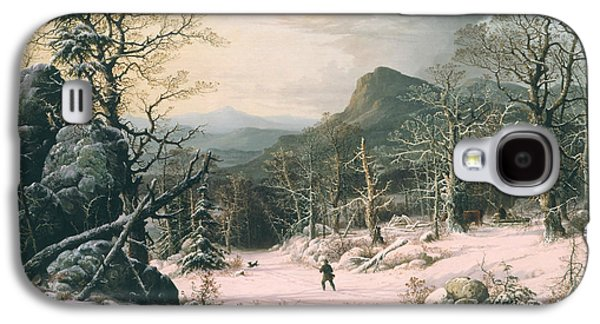 Hunter In Winter Wood  Galaxy S4 Case by George Henry Durrie