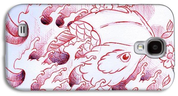 Koi Carp Tattoo Art Galaxy S4 Case by Samuel Whitton