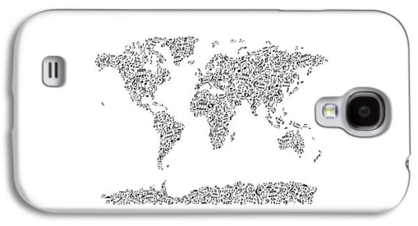 Music Notes Map Of The World Galaxy S4 Case