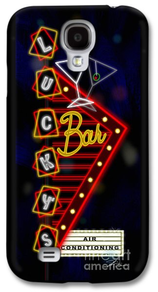 Nightclub Sign Luckys Bar Galaxy S4 Case