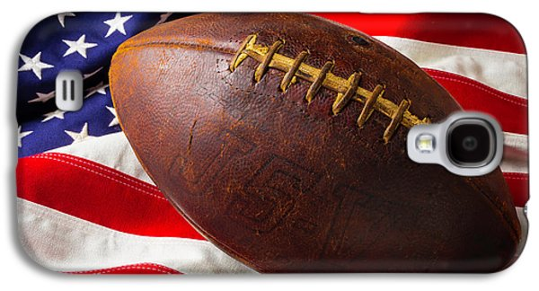 Old Football On American Flag Galaxy S4 Case by Garry Gay
